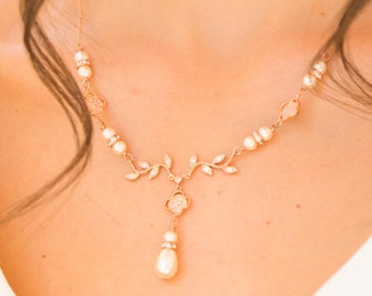 Swarovski pearl and rose gold necklace, with backdrop and pearl drop earrings cream,  tear drop bridal,  blush  low back,