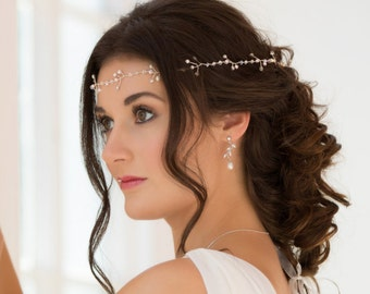 Flexible Crystal and pearl hair vine, tiara, headband, forehead garland, with  Swarovski crystal, ideal for long hair