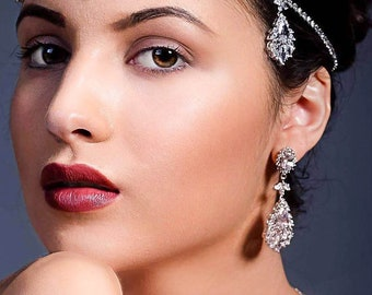 Crystal drop chandelier earrings, for proms, pageants, glamorous brides and bridesmaids