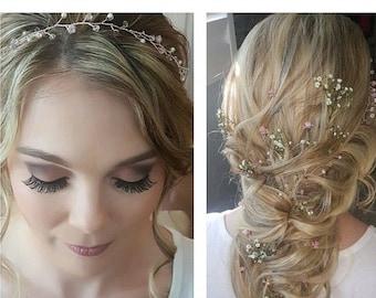 Rustic wedding hair vine, garland, Swarovski crystal, rose gold, hair crown, boho, wedding accessories, summer bride, Boho chic, pink blue