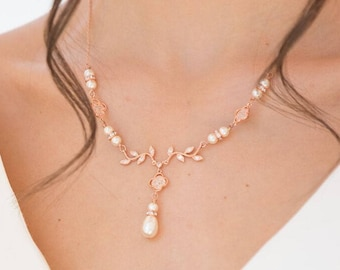 Bridal necklace set, Rose gold, backdrop necklace, Swarovski pearl, blush, crystal, bridal,  blush  cream, low back, brides,