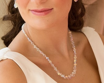 Swarovski Crystal necklace, choker,  Sterling Silver or rose gold finish, made to measure, wedding, prom,