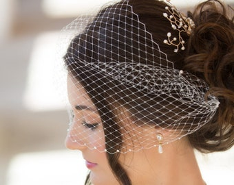 birdcage Veil, swarovski crystal veil, black, , bandeau Veil, Vintage style 1920's 1940's Russian net Bride veil, wedding hair