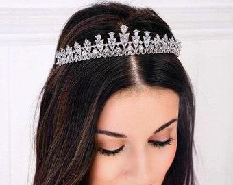 Swarovski Crystal bridal tiara, sparkling clear wedding hair band, Made to your chosen colours
