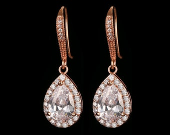 Cubic zirconia teardrop sparkly earrings, ruby red, sapphire or emerald, sterling silver, rose gold or gold