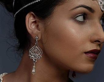 Chandelier earrings, Art Deco, diamanté crystal earrings, swarovski pearls, bridal earrings,