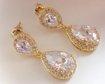 Clip on or pierced crystal earrings, gold, silver, rose gold, with option to choose colours too