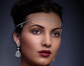 Forehead piece, chain, prom, wedding, bride, Cubic zirconia, 1920's flapper, kim kardashian style headpiece, unique handmade design