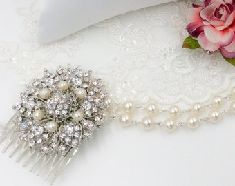 Pearl head chain, bride forehead band, great gatsby, brow band, wedding headdress, draping, pearl and diamante adorned filigree flowers.