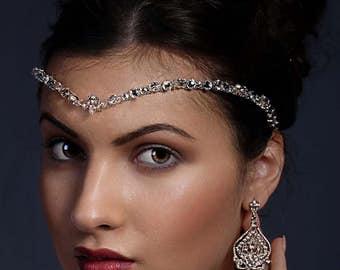 Crystal forehead band, Kim Kardashian wedding style, Swarovski, Bride, 1920's band, teardrop Swarovski, bride tiara, unique handmade design