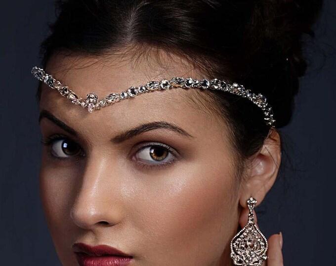 Featured listing image: Crystal forehead band, Kim Kardashian wedding style, Swarovski, Bride, 1920's band, teardrop Swarovski, bride tiara, unique handmade design