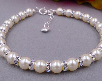 Swarovski Pearl bracelet, custom colours, bridal With Crystal Rondelle wedding, 925 Silver Clasp, PROM, brides, mother  bride,