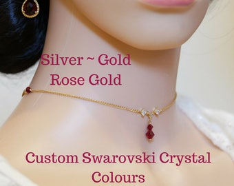 choker necklace, with Swarovski Crystal Elements , in Silver, gold, or rose gold, custom colours