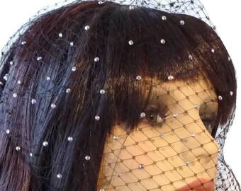 Birdcage veil, crystal or plain, with Swarovski crystals,  Brides, proms, funeral veil,
