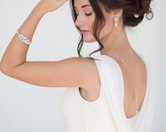 Necklace backdrop, crystal and pearl, Swarovski, wedding, 925 Silver backdrop bridal, low back, Gatsby vintage inspired for Choker, brides,