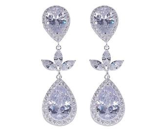 Crystal teardrop earrings, bridal, silver with cubic zirconia, pendant teardrop, gold, Custom bridal jewelry, Bridesmaid, bride gift,