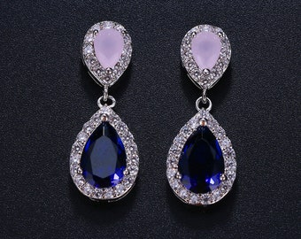 Sapphire blue, earrings, emerald, pink or ruby crystal earrings, with option matching pendant,