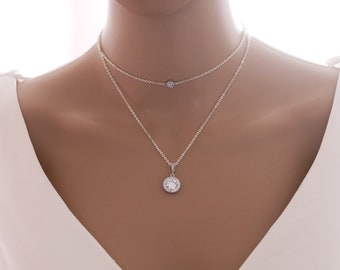 layered choker and pendant necklace with optional backdrop chain, finished in silver or rose gold