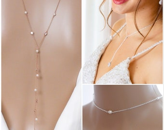 Gold, silver, Backdrop necklace, crystal and pearl backdrop necklace, Gatsby vintage inspired, pearl Choker,