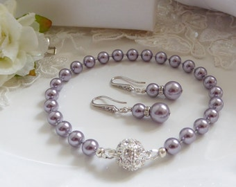 Swarovski Pearl bracelet, bridesmaids jewellery, magnetic crystal clasp, with pendant necklace and earrings, gift set