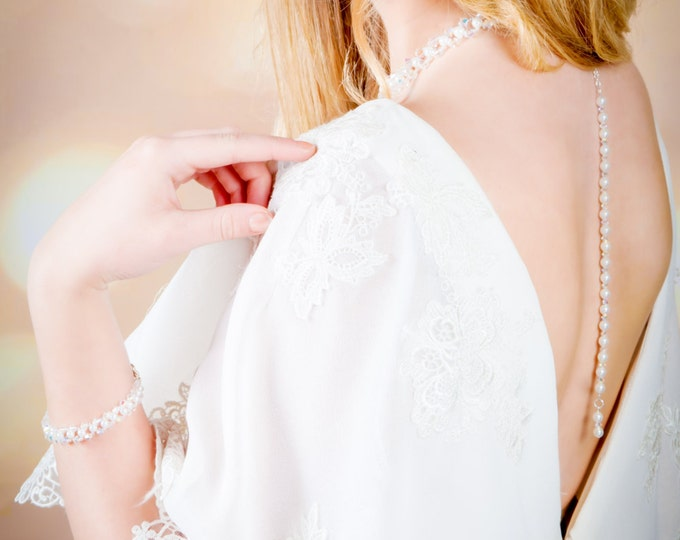 Pearl Backdrop chain, necklace, Custom made, swarovski crystal, Choker necklace, back chain, bridal jewellery, rose gold, Sterling silver,