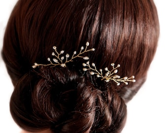 Swarovski Elements, Bridal hair pins with Swarovski Elements and freshwater pearls, finished in silver, gold or rose gold