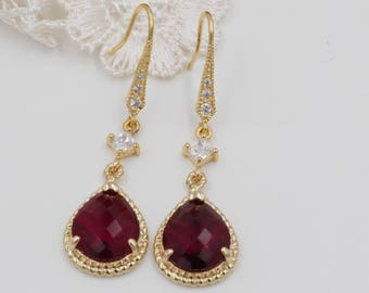 Ruby red crystal drop earrings, Gold or silver frame, diamond hook, rope jewellery, Siam, bridal jewelry, mother  bride, Prom earrings