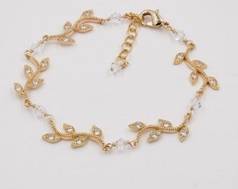Gold, silver, Leaf vine bracelet with Swarovski Crystal or pearls, and matching backdrop necklace,
