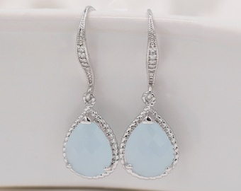 Baby blue, ruby red, ice pink, crystal drop earrings, with sterling silver cubic zirconia ear hooks