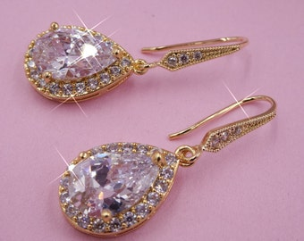Gold crystal pear drop earrings, Cubic zirconia teardrop sparkly earrings, ruby red, sapphire or emerald, sterling silver, rose gold or gold