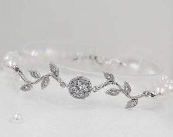 Bridal crystal Leaf vine bracelet, with Swarovski pearls or freshwater pearls, Finished in silver or rose gold