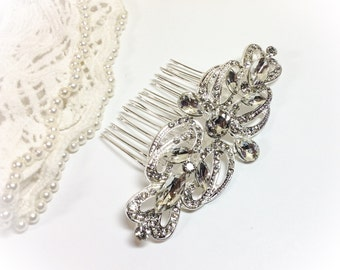 Crystal Bridal comb, swarovski,  and Birdcage veil bandeau, Vintage style 1920s, Art Deco with French / Russian net Bride, wedding hair