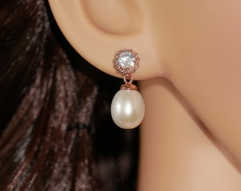 Rose gold Freshwater pearl drop bridal earrings, with cubic zirconia crystal, for brides, mother of the bride, Prom earrings