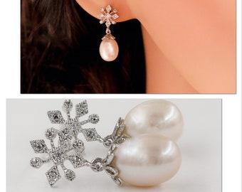 Snowflake crystal & Real Pearl winter bride earrings with sterling silver ear post,