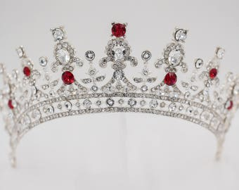 Sparkling crystal tiara made with Swarovski Crystal Elements finished in silver, gold or rose gold
