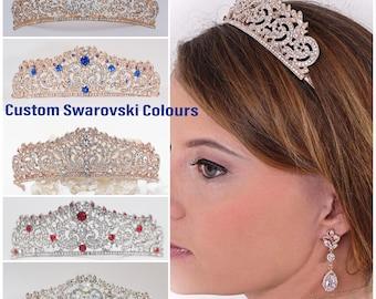 Custom colours Swarovski Crystal tiara, Rose gold, silver, wedding crown,  Bridal, prom, hair accessory, pageant headdress,