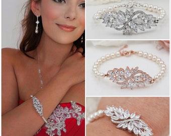 Swarovski Pearl Bridal bracelet, earrings or pendant set, with leaf flower designs and Swarovski pearls