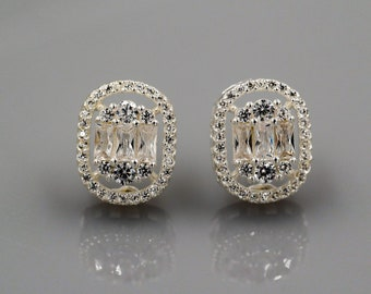 Crystal stud earrings, cubic zirconia, bridal sparkling diamond cut petite sterling silver cushion cut