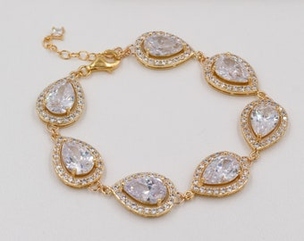 Crystal bracelet, cubic zirconia, finished in silver, gold or rose gold