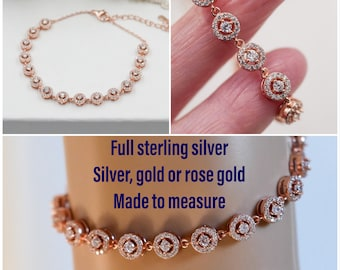 Sparkling bracelet, Sterling silver cubic zirconia halo bracelet, bridal bracelet, made to measure