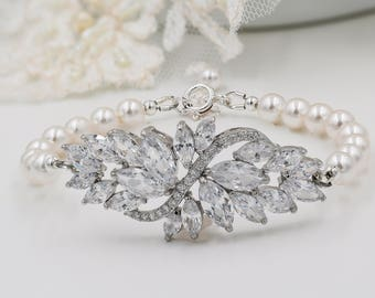 Bridal bracelet, earrings or pendant set, with leaf flower designs and Swarovski pearls