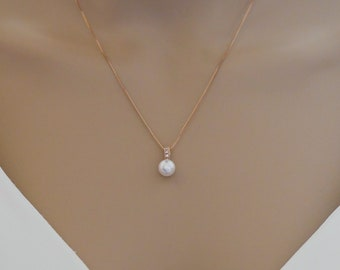 Swarovski pearls, Custom colours, petite earrings, pendant set, finished in rose gold or silver