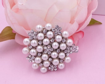 Pearl and crystal flower hair clip, bridal hair comb with diamanté's rhinestone and Swarovski crystal