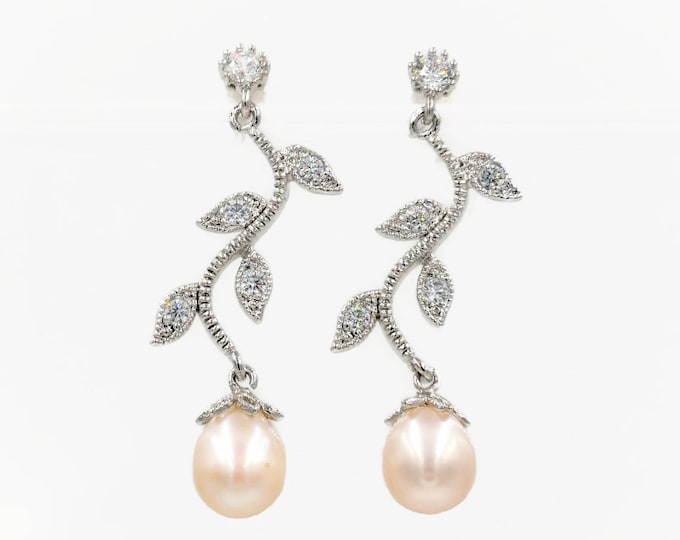 Featured listing image: Pearl drop leaf vine earrings in silver or rose gold, freshwater or Swarovski pearl drop or Cubic zirconia,  perfect bridal jewellery