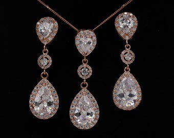 Rose gold or silver, teardrop crystal earrings with matching pendant, ideal for brides jewellery, gift for Bridesmaid,