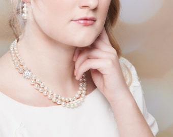 Double row Pearl necklace, Swarovski, vintage style choker,  Made to your measure and your chosen colours