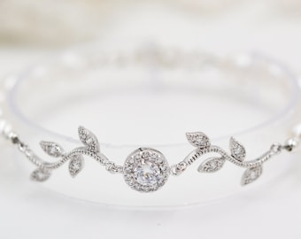 crystal Leaf vine bracelet, perfect for bridal jewellery with Swarovski pearls Finished in silver or rose gold
