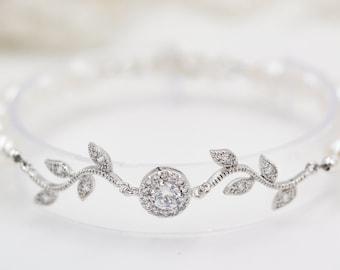 crystal Leaf vine bracelet, with Swarovski pearls or freshwater pearls, Finished in silver or rose gold