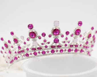 crystal tiara made with Swarovski Crystal Elements finished in silver, gold or rose gold