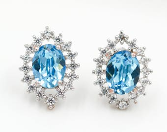 crystal stud earrings with swarovski elements, something blue bride, hen party jewellery